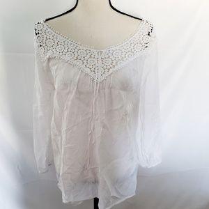 Grand Greene white crochet sheer boho peasant top